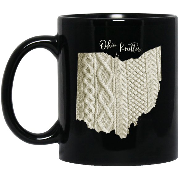 Ohio Knitter Black Mugs