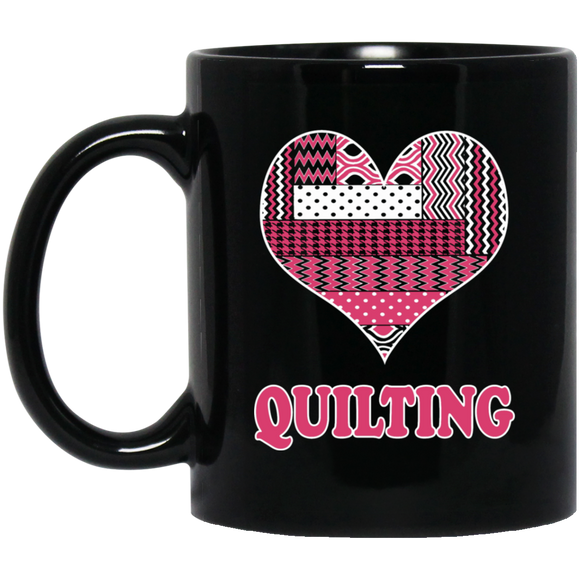 Heart Quilting Black Mugs