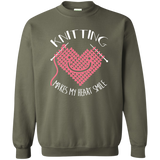 Knitting Makes My Heart Smile Crewneck Pullover Sweatshirt