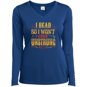 I Bead So I Won't Come Unstrung (gold) Ladies Long Sleeve V-neck Tee - Crafter4Life - 7