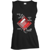 Make a Quilt (red) Ladies Sleeveless V-Neck - Crafter4Life - 2