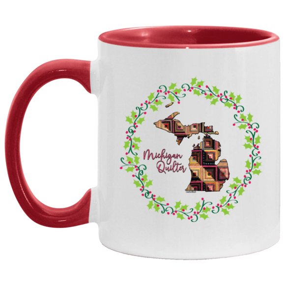 Michigan Quilter Christmas Accent Mug