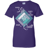 Make a Quilt (turquoise) Ladies Custom 100% Cotton T-Shirt - Crafter4Life - 10