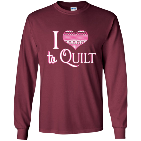 I Heart to Quilt Long Sleeve Ultra Cotton T-Shirt - Crafter4Life - 1