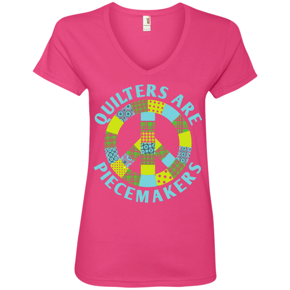 Quilters are Piecemakers Ladies V-Neck Tee - Crafter4Life - 1