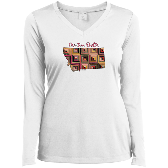 Montana Quilter Ladies' LS Performance V-Neck Shirt
