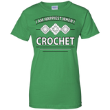 I Am Happiest When I Crochet Ladies Custom 100% Cotton T-Shirt - Crafter4Life - 3