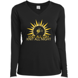 Wish I May Knit Ladies LS Performance V-neck Tee