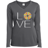 LOVE Quilting (Fall Colors) Ladies Long Sleeve V-neck Tee - Crafter4Life - 6