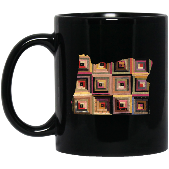 Oregon Quilter Black Mugs