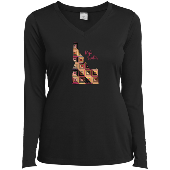 Idaho Quilter Ladies' LS Performance V-Neck Shirt