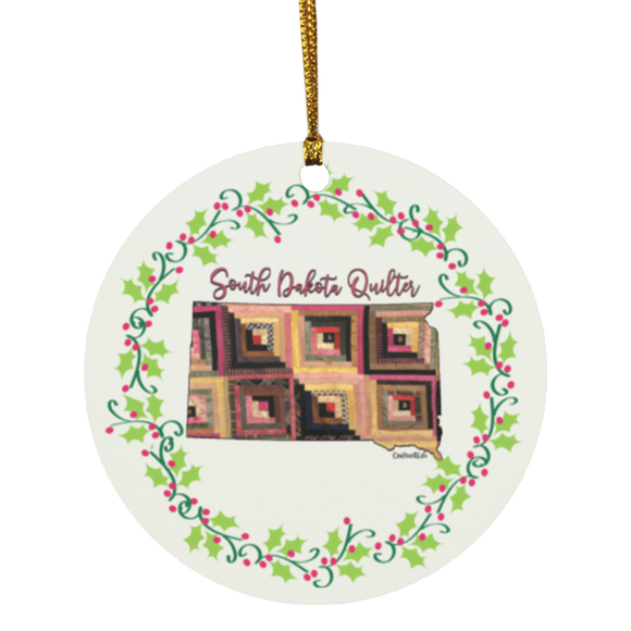 South Dakota Quilter Christmas Circle Ornament