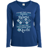 I Shop Faster than I Quilt Ladies Long Sleeve Performance V-neck Tee - Crafter4Life - 8
