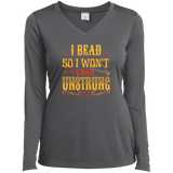 I Bead So I Won't Come Unstrung (gold) Ladies Long Sleeve V-neck Tee - Crafter4Life - 6
