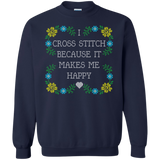 I Cross Stitch Because It Makes Me Happy Crewneck Sweatshirts - Crafter4Life - 3