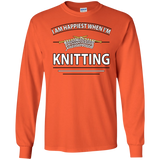 I Am Happiest When I'm Knitting Long Sleeve Ultra Cotton T-Shirt - Crafter4Life - 10