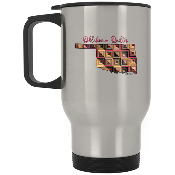 Oklahoma Quilter Silver Stainless Travel Mug