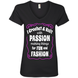 I Crochet & Knit with Passion Ladies V-Neck T-Shirt