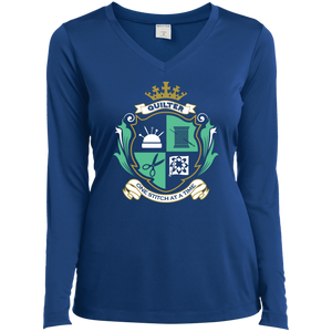 Quilters Motto Ladies LS Performance V-neck Tee