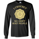 I Crochet So I Don't Hurt People Long Sleeve Ultra Cotton T-Shirt - Crafter4Life - 2