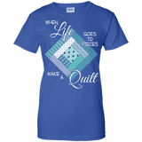 Make a Quilt (turquoise) Ladies Custom 100% Cotton T-Shirt - Crafter4Life - 11