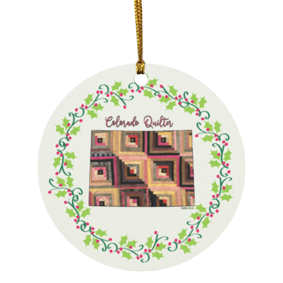Colorado Quilter Christmas Circle Ornament