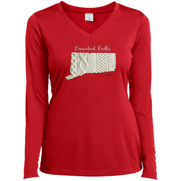 Connecticut Knitter Ladies' LS Performance V-Neck Shirt