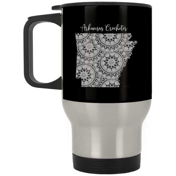 Arkansas Crocheter Silver Stainless Travel Mug
