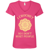I Crochet So I Don't Hurt People Ladies V-neck Tee - Crafter4Life - 1