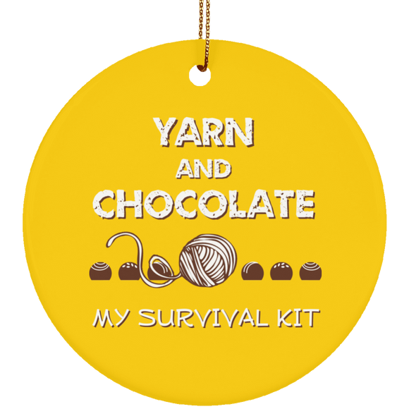 Yarn and Chocolate Ceramic Ornaments