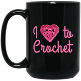 I Heart to Crochet Black Mugs