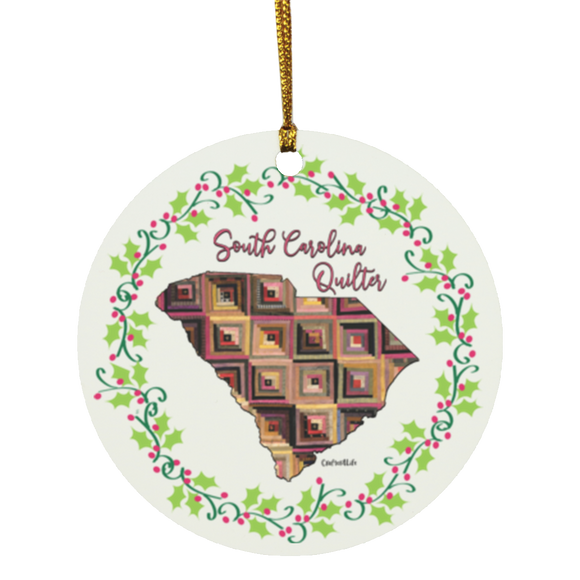 South Carolina Quilter Christmas Circle Ornament