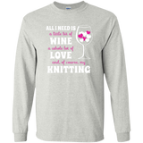 All I Need is Wine-Love-Knitting Long Sleeve Ultra Cotton Tshirt - Crafter4Life - 2