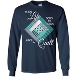 Make a Quilt (turquoise) Long Sleeve Ultra Cotton T-Shirt - Crafter4Life - 6