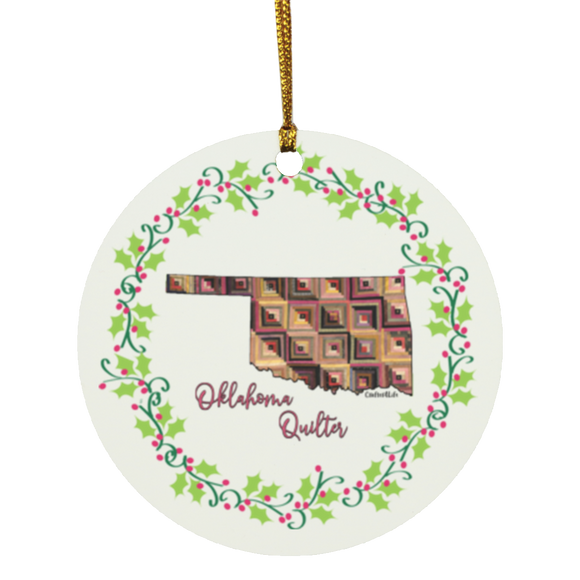 Oklahoma Quilter Christmas Circle Ornament