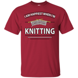 I Am Happiest When I'm Knitting Custom Ultra Cotton T-Shirt - Crafter4Life - 7