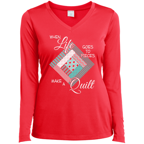 Make a Quilt (turquoise) Ladies Long Sleeve V-neck Tee - Crafter4Life - 1