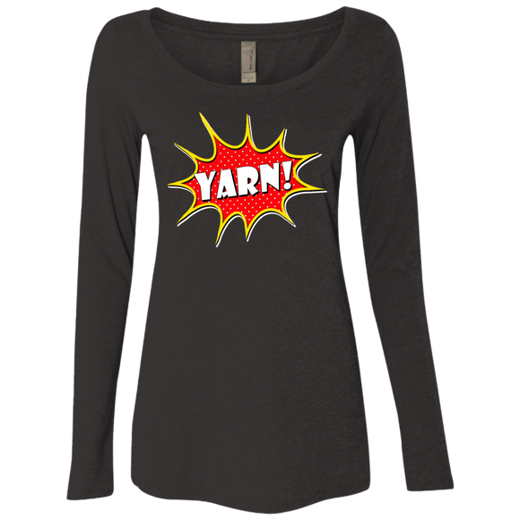 Yarn! Comic Starburst Ladies Triblend LS Scoop