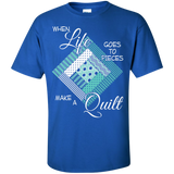 Make a Quilt (turquoise) Custom Ultra Cotton T-Shirt - Crafter4Life - 10