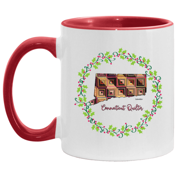 Connecticut Quilter Christmas Accent Mug