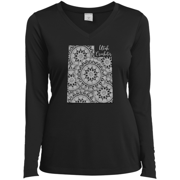 Utah Crocheter Ladies LS Performance V-Neck Shirt