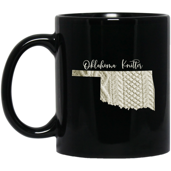 Oklahoma Knitter Black Mugs