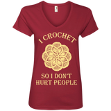 I Crochet So I Don't Hurt People Ladies V-neck Tee - Crafter4Life - 4