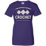 I Am Happiest When I Crochet Ladies Custom 100% Cotton T-Shirt - Crafter4Life - 6
