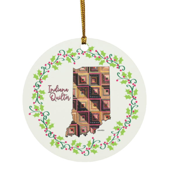 Indiana Quilter Christmas Circle Ornament
