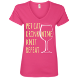 Pet Cat-Drink Wine-Knit Ladies V-Neck T-Shirt