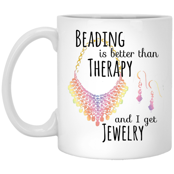 Beading is Better than Therapy White Mugs