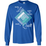 Make a Quilt (turquoise) Long Sleeve Ultra Cotton T-Shirt - Crafter4Life - 5