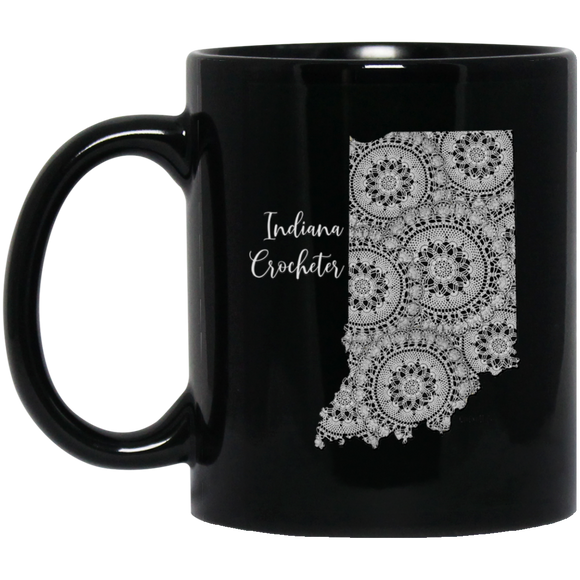 Indiana Crocheter Black Mugs