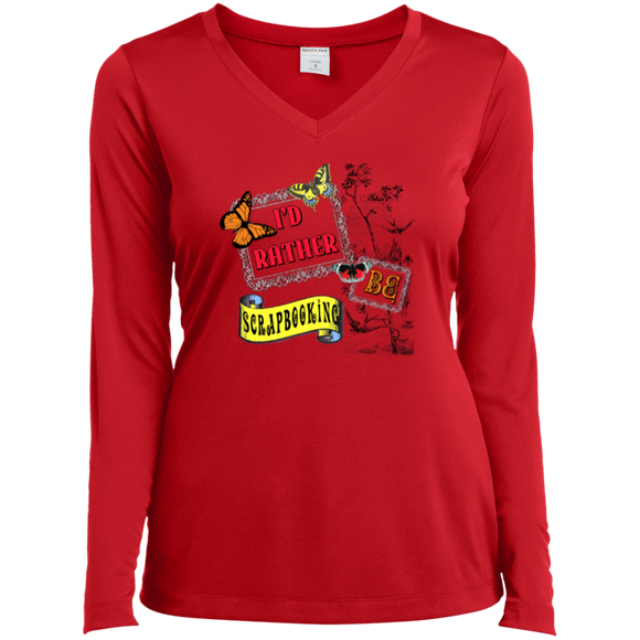 I'd Rather Be Scrapbooking Ladies Long Sleeve V-neck Tee - Crafter4Life - 1